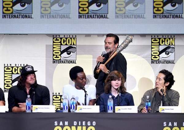 Norman Reedus, Danai Gurira, Jeffrey Dean Morgan, Chandler Riggs, and Steven Yeun attend AMC's 'The Walking Dead' panel during Comic-Con International 2016 at San Diego Convention Center in San Diego, California.