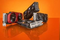 A selection of gaming PC graphics cards included a Sapphire Radeon R9 Fury Tri-X, Gigabyte GTX 970 G1 Gaming, XFX Radeon R9 390X and Palit GTX 980 Super Jetstream.
