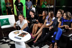 'The Vampire Diaries' actors Matthew Davis, Ian Somerhalder, TV personality Rocsi, actors Nina Dobrev, Paul Wesley and Kat Graham chat with fans over Skype for Xbox One in the Microsoft VIP Lounge during Comic-Con on July 26, 2014 in San Diego, California