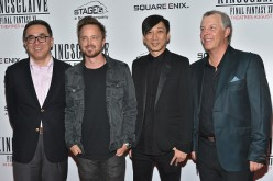 Square Enix president Yosuke Matsuda, Aaron Paul Takeshi Nozue and John R. Graham attend the 'Kingsglaive: Final Fantasy XV' New York Premiere at AMC Empire 25 theater on August 18, 2016 in New York City.