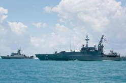 Armidale Class Patrol Boat HMAS Wollongong sails in-company with Indonesian Naval vessel KRI Sampari at Exercise Cassowary.
