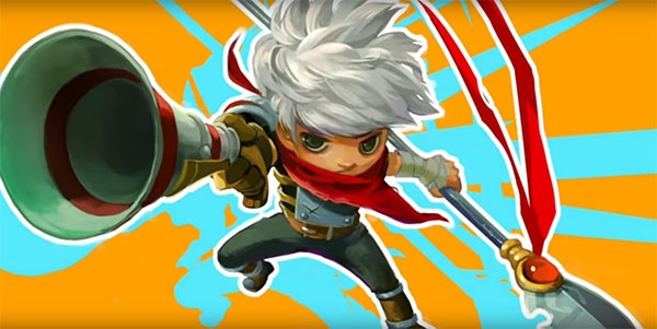 """Bastion's"" main protagonist The Kid shows off his new weapons, a spear and a gun."