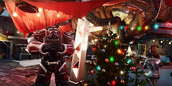 """A """"Fallout 4"""" character stands by a Christmas Tree, which came from a mod."""