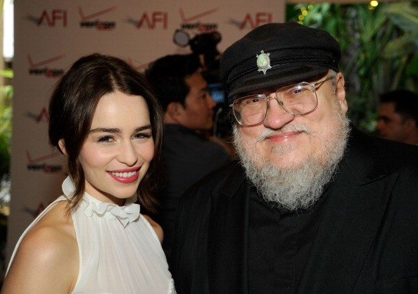 Emilia Clarke and George R.R. Martin arrive at at the 12th Annual AFI Awards held at the Four Seasons Hotel Los Angeles at Beverly Hills on January 13, 2012 in Beverly Hills, California.