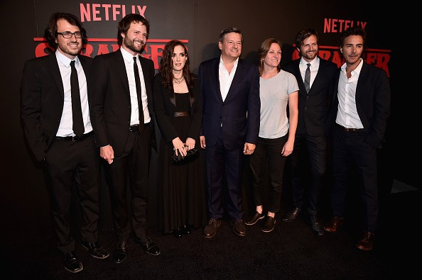 Executive producer Dan Cohen, creator/executive producer Ross Duffer, actress Winona Ryder, Chief Content Officer for Netflix, Ted Sarandos, VP of Original Content for Netflix Cindy Holland, creator/executive producer Matt Duffer and executive producer Sh