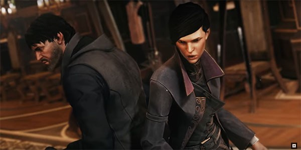 """""""Dishonored 2"""" main protagonists Corvo and Emily fight side by side against the enemies in front of them."""