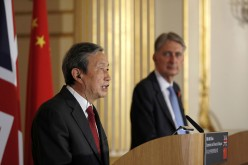 Chinese Vice Premier Ma Kai and British Chancellor Philip Hammond speak at a press conference following the 8th U.K.-China Economic and Financial Dialogue (EFD) at Lancaster House on Nov. 10.