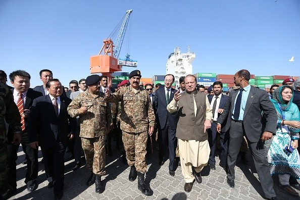 Pakistan Prime Minister Nawaz Sharif and Pakistan Army chief General Raheel Sharif attend the opening ceremony of a pilot trade project  in Gwadar port.