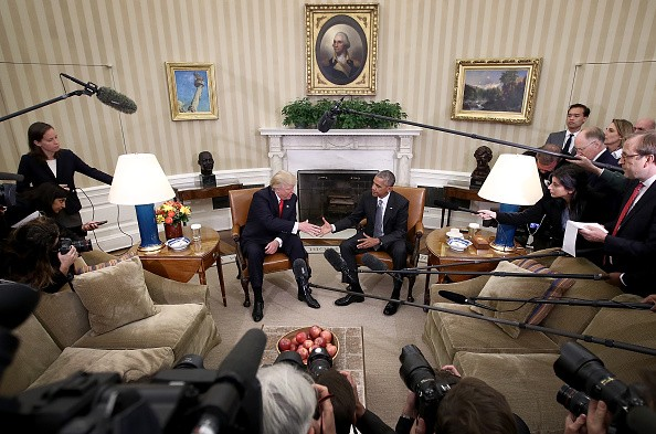 New U.S. President Donald Trump visits outgoing President Barack Obama.