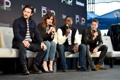 Milo Ventimiglia, Mandy Moore, Sterling K. Brown and Justin Hartley speak onstage during the 'This Is Us' panel at Entertainment Weekly's PopFest at The Reef in Los Angeles, California.