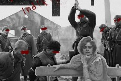 Black and white and hints of red: This altered wartime photo shows a glimpse of what transpired during the Nanjing Massacre in the late '30s in China. It appears at the back of a hoodie.