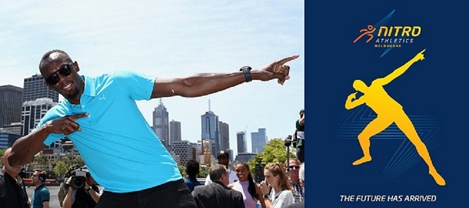 (L) Usain Bolt attends the launch of Nitro Athletics in Melbourne, Australia, on Nov. 4, 2016, and strikes a pose similar to the one in the event's poster (R).