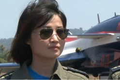 A screenshot from a commemoratory video of China's first female J-10 fighter jet pilot.