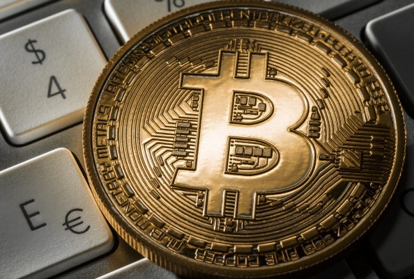 Close view of virtual currency Bitcoin
