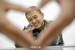 Chinese veterans put together a series of photos before they retire. The heart gestures express their gratitude and love for the army.