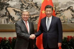 U.N. Secretary-General-designate Antonio Guterres (L) meets China's President Xi Jinping at Diaoyutai State Guesthouse on Nov. 28, 2016, in Beijing, China.