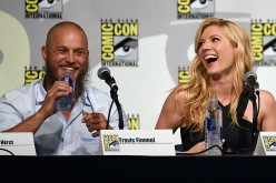 SAN DIEGO, CA - JULY 10: Actor Travis Fimmel (L) and actress Katheryn Winnick attend a panel for the History series 'Vikings' during Comic-Con International 2015 at the San Diego Convention Center on July 10, 2015 in San Diego, California.