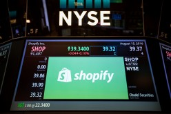 New York Stock Exchange displays the stock price of Shopify.