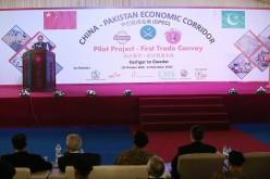 Pakitan PM Nawaz Sharif delivering a speech during the China-Pakistan Economic Corridor Ceremony on Nov. 13, 2016.
