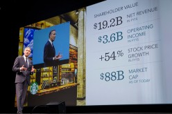 Starbucks CEO Howard Schultz speaks about the the company's financials during the Starbucks Annual Shareholders Meeting.