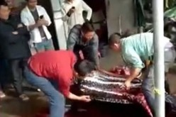 Fisherman caught butchering the endangered sea turtle caught near Shanhai village in Guangdong.