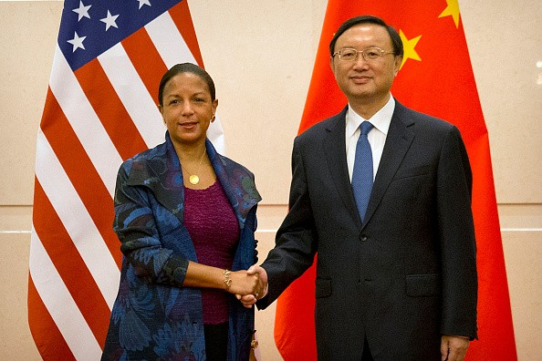 U.S. National Security Adviser Susan Rice and Chinese State Councilor Yang Jiechi during the roundtable talks at the Diaoyutai State Guesthouse in Beijing in July.