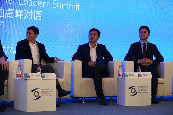 (L-R) Jack Ma, chairman and CEO of Alibaba Group; Li Yanhong, CEO of Baidu.com; and Liu Qiangdong, CEO of JD.com, attend the 2014 World Internet Conference.