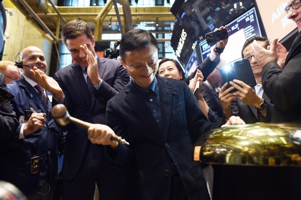Alibaba founder and executive chairman Jack Ma rings a bell to open trading on the floor at the New York Stock Exchange in New York in 2014.