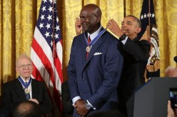 President Barack Obama awards the Presidential Medal of Freedom to National Basketball Association Hall of Fame member and legendary athlete Michael Jordan during a ceremony in the East Room of the White House November 22, 2016 in Washington, DC.