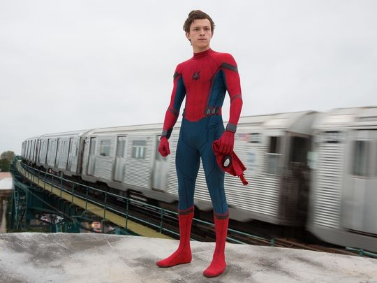 "Tom Holland as Peter Parker/Spider-Man in ""Spider-Man: Homecoming""."