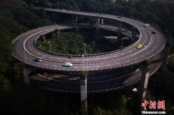 A view of the Rongqiao Overpass in Chongqing.