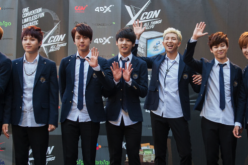 BTS attends KCON 2014 - Day 2 at the Los Angeles Memorial Sports Arena on August 10, 2014 in Los Angeles, California.