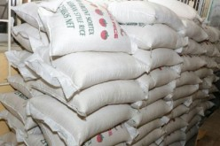 Sacks of plastic rice seized by Nigeria.