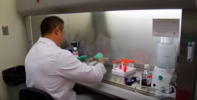A researcher at work in a lab facility.