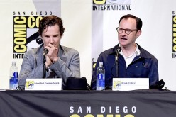 Actor Benedict Cumberbatch (L) and actor/writer/producer Mark Gatiss attend the 'Sherlock' panel during Comic-Con International 2016 at San Diego Convention Center on July 24, 2016 in San Diego, California.