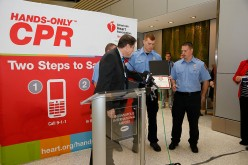 The American Heart Association and Anthem Blue Cross and Blue Shield in Indiana unveil hands-only CPR Training Kiosk at Indianapolis International Airport.