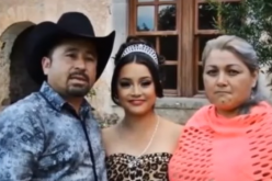 Rubi Ibarra Garcia (C) posed for a photo beside her father, Cresencio (L) and mother Anaelda  Ibarra(R).
