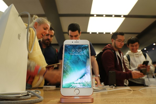 The new iPhone 7 is displayed on a table at an Apple store in Manhattan on September 16, 2016 in New York City.