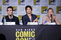 Actors Paul Wesley and Ian Somerhalder and writer/producer Julie Plec attend the 'The Vampire Diaries' panel during Comic-Con International 2016 at San Diego Convention Center on July 23, 2016 in San Diego, California.
