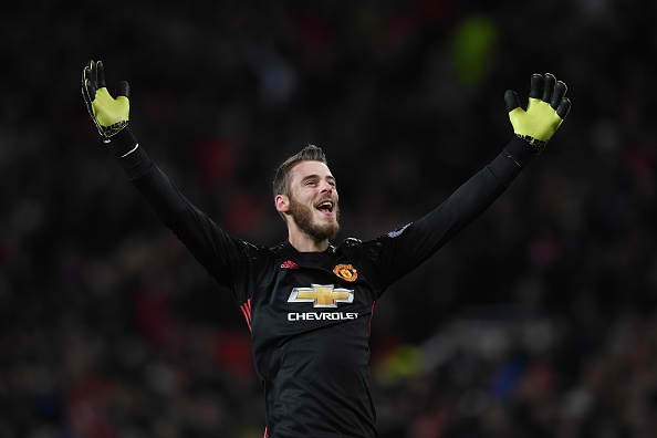 David de Gea celebrates after his side scores against Sunderland in their Premier League match last Dec. 26, 2016.