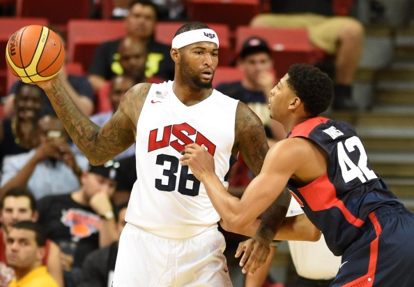 DeMarcus Cousins of the 2014 USA Basketball Men's National Team is guarded by Anthony Davis of the 2014 USA Basketball Men's National Team during a USA Basketball showcase at the Thomas & Mack Center on August 1, 2014 in Las Vegas, Nevada.
