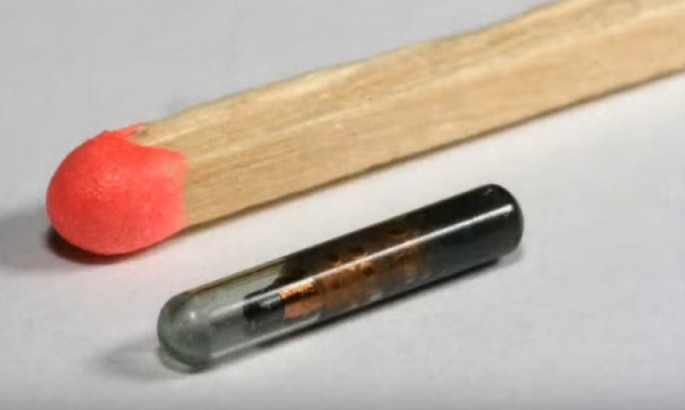 An implantable device is compared with a matchstick for the size difference.