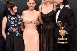 Maisie Williams, Emilia Clarke, Sophie Turner and Kit Harington, winners of Best Drama Series for 'Game of Thrones', pose in the press room during the 68th Annual Primetime Emmy Awards at Microsoft Theater on September 18, 2016 in Los Angeles, California.