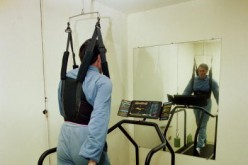 Spanish golfer Seve Ballesteros exercising in his gym at home in Pedrena, Spain