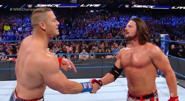John Cena comes face to face with his Royal Rumble opponent AJ Styles on an episode of WWE Smackdown.