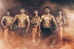 Handsome firefighters posing for the 2017 Chinese Firefighters' Calendar.