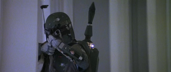 Boba Fett firing at Han Solo in 'Star Wars V: The Empire Strikes Back.'