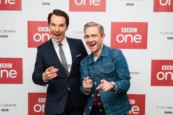 Benedict Cumberbatch and Martin Freeman attend a screening of the Sherlock 2016 Christmas Special at Ham Yard Hotel on December 19, 2016 in London, England.
