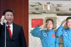 Combination photo of President Xi Jinping as he talks with astronauts Jing Haipeng and Chen Dong.