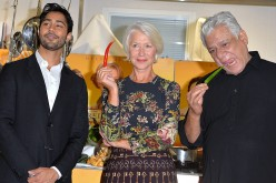 Manish Dayal, Dame Helen Mirren and Om Puri attend a photocall for 'The Hundred Foot Journey' at Le Cordon Bleu on September 2, 2014 in London, England. (Photo by Anthony Harvey/Getty Images)